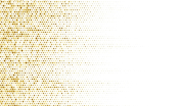 Golden halftone pattern texture on white background