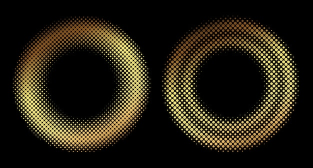 Golden halftone round shapes