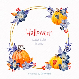 Golden halloween frame with watercolor elements