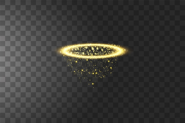 Golden halo angel ring. isolated on black transparent background,  illustration