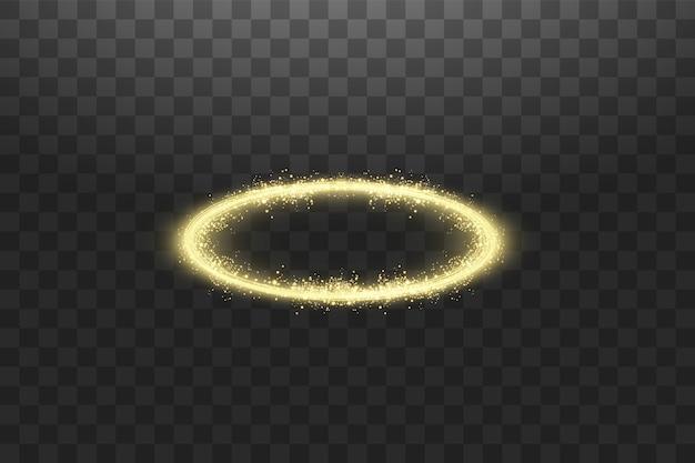 暗闇で隔離された黄金のハローエンジェルリング