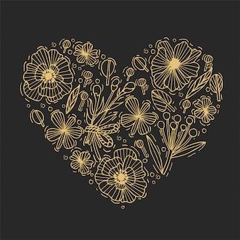 황금 손으로 그리는 꽃과 나뭇잎 심장 모양. 새겨진 스타일의 꽃. 발렌타인 데이 카드. 삽화.