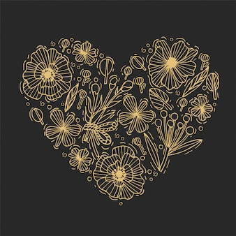 Golden hand draw flowers and leaves heart shape. engraved style flowers. valentines card.  illustration.
