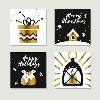 黄金の手描きのクリスマスカード