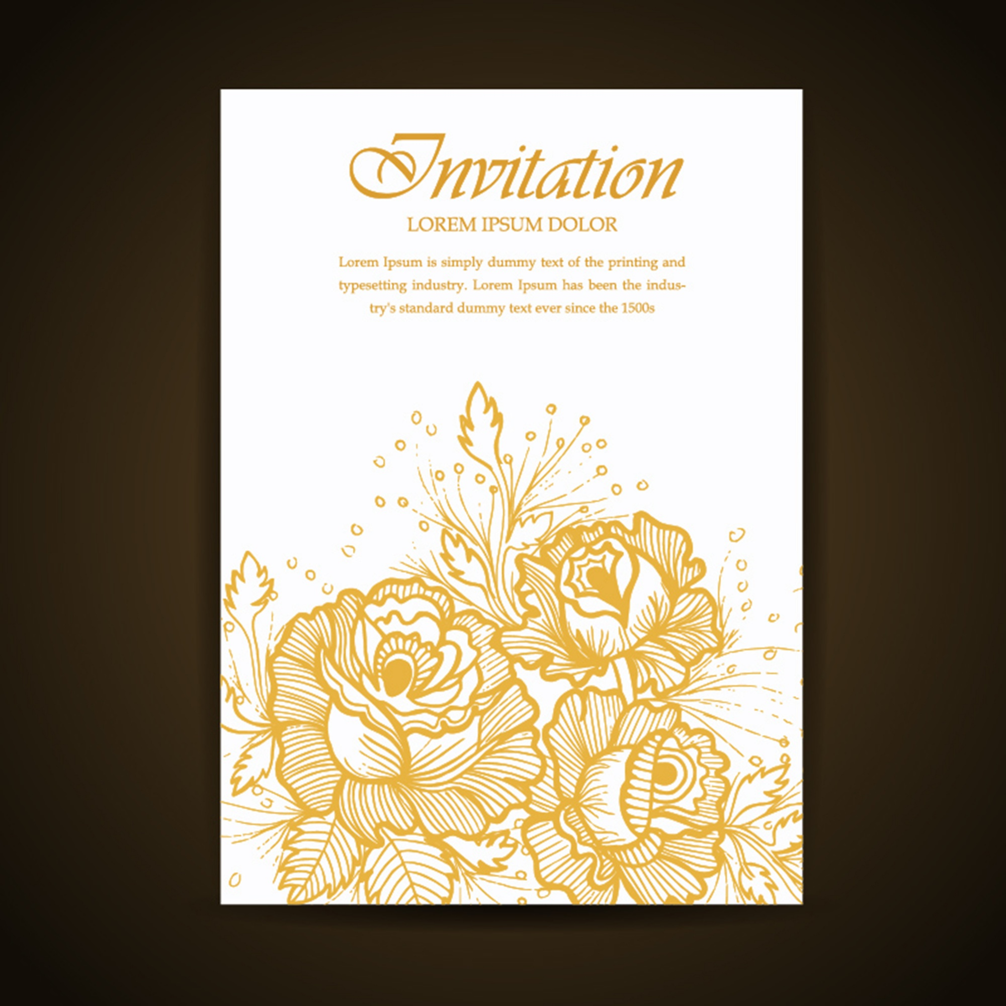 Golden Hand Drawn Floral and Leaves Invitation Card