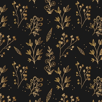Golden hand drawn floral plants seamless pattern