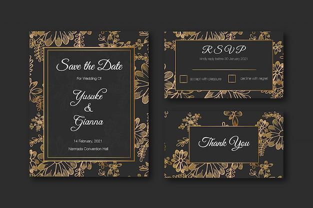 Golden hand drawn floral premium wedding stationery template