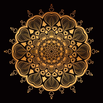 Golden hand drawn mandala with hearts