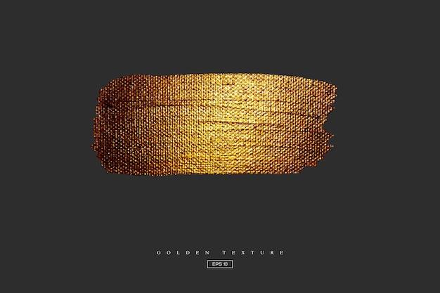 Золотая рука нарисованные мазок пятно. акриловая текстура с эффектом холста. золотая кисть изолирована