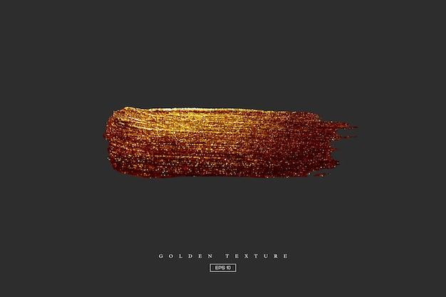 Золотая рука нарисованные мазок пятно. акриловая текстура с эффектом бумаги. золотая кисть изолирована