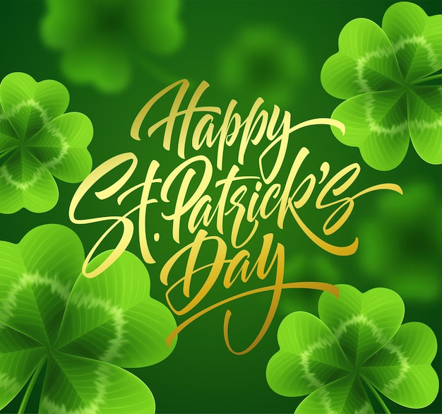 Golden handwriting lettering happy saint patrick's day