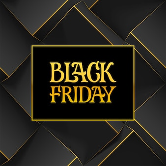 Golden handwritten lettering sign and logo black friday on dark geometric background with 3d cubes