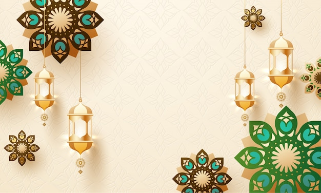 Golden hanging lanterns and mandala design decorated on arabic s