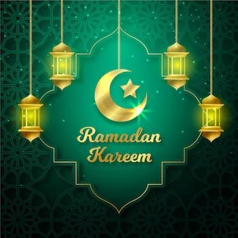 Golden hanging lanterns realistic eid mubarak