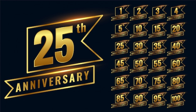Golden happy anniversary premium badge logotype set