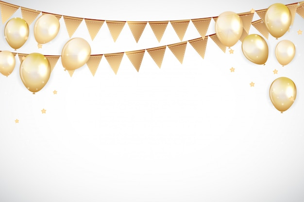Golden happy birthday balloons background