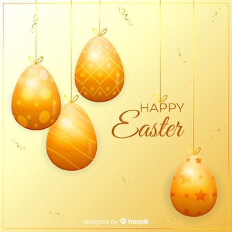 Golden happy easter background