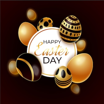 Golden happy easter day background