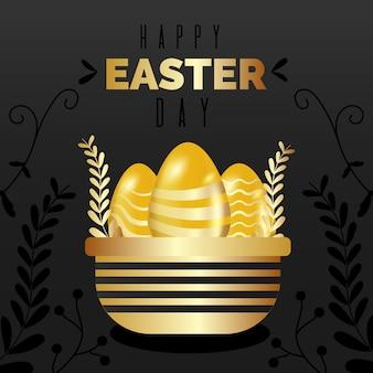 Golden happy easter day celebration