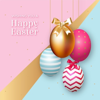Golden happy easter day concept
