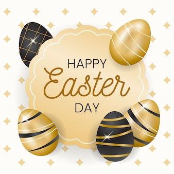 Golden happy easter day theme