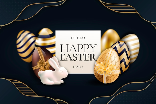 Golden happy easter day wallpaper