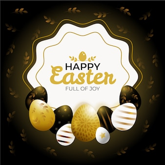 Golden happy easter day