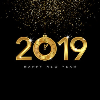 Golden happy new year 2019 design with clock