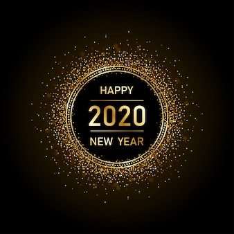 Golden happy new year 2020 in circle ring fireworks with burst glitter black background