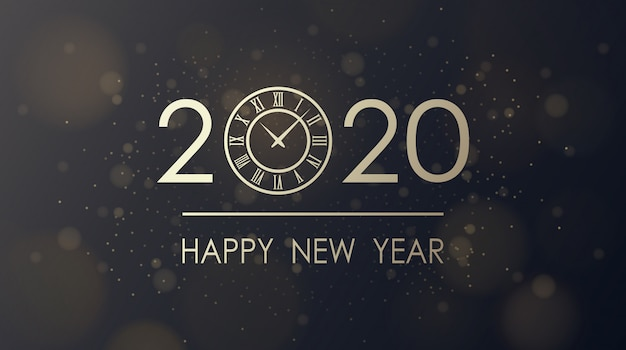 Golden happy new year 2020 and clock face with burst glitter black background