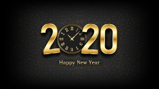 Golden happy new year 2020 and clock with burst glitter on black