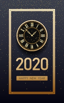 Golden happy new year 2020 and clock with glitter on black color background