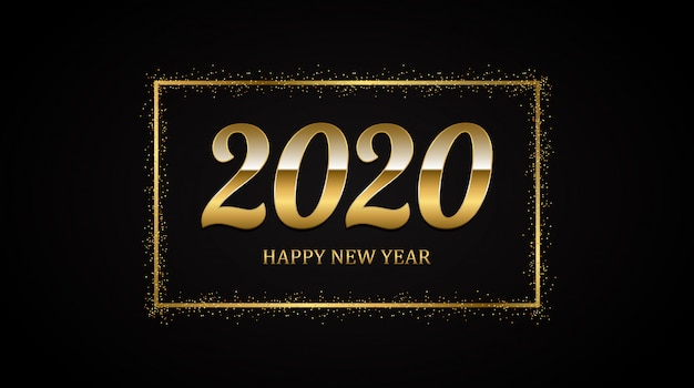 Golden happy new year 2020 in square label with burst glitter on black color background