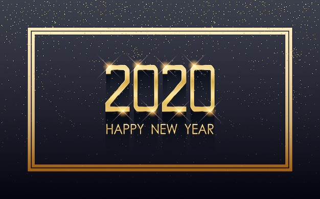 Golden happy new year 2020 in square label with flowing glitter on black color background