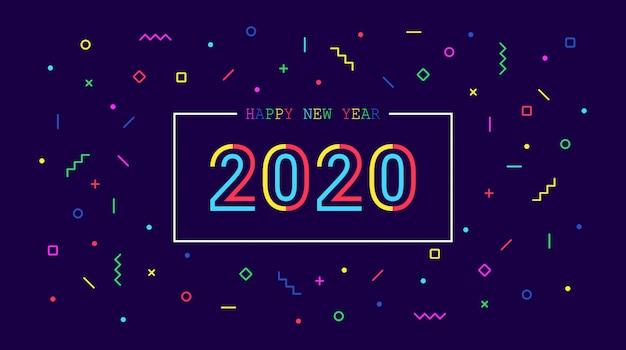 青い色の背景上のネオメンフィスグラフィックとゴールデンハッピーニューイヤー2020