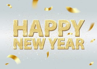 Golden Happy New Year Inscription and Falling Golden Confetti