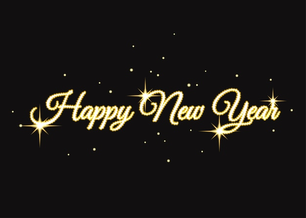 Golden happy new year  sign gold xmas typography for card poster flyer invitation