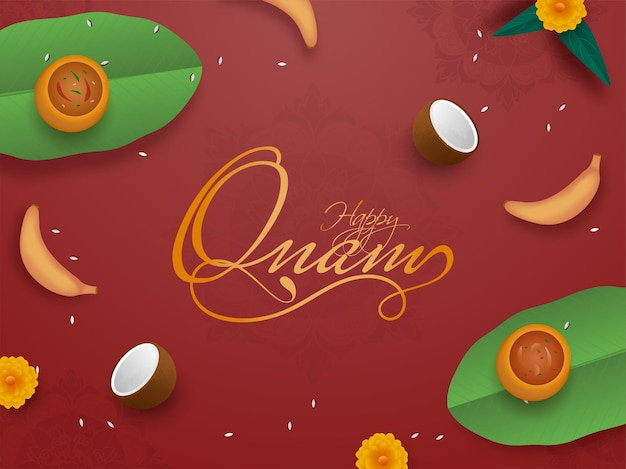 Golden happy onam font with top view of sadhya (food) abd fruits decorated on red background.