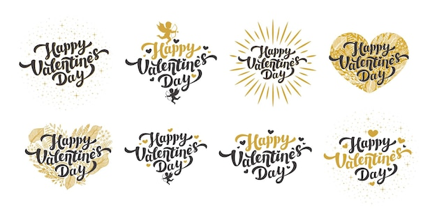 Golden happy valentine's day quotes and lettering with hearts and cupids in vintage