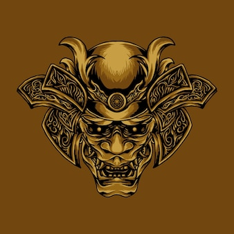 Золотая голова они самурай иллюстрация