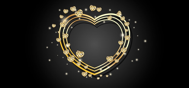 Golden heart frame black background