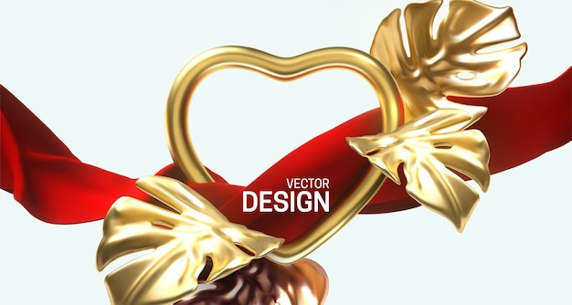 Golden heart frame and flowing red fabric with golden monstera leaves