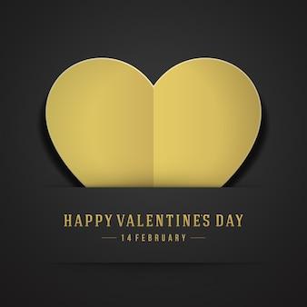 Золотое сердце из бумаги открытка ко дню святого валентина