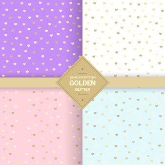 Golden heart glitter seamless pattern on pastel background