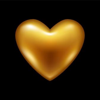 Золотое сердце. с днем святого валентина любовь символ.