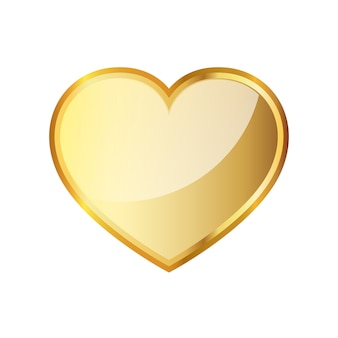 Золотое сердце значок. векторная иллюстрация.