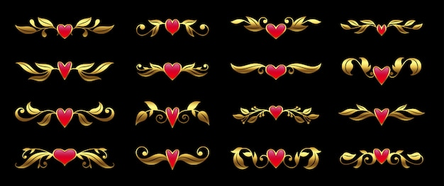 Golden heart and ornate floral element set