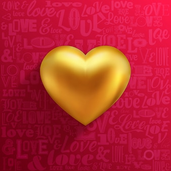 Golden heart on red background and love typography