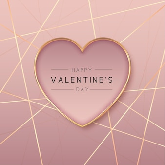 Golden heart shape valentine's day background