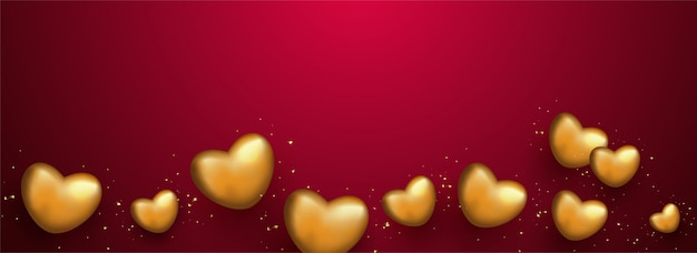 Golden heart shapes on red background